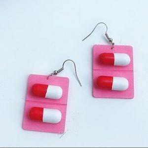 Wooden Kawaii Happy Pill Capsule Earrings